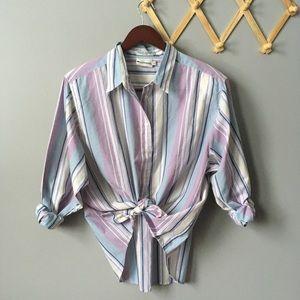 Vintage Appleseeds Striped Button Down Shirt